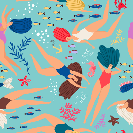 Swimmers girls underwater pattern with color fish. Vector seamless swimmer girl pattern in sea illustration