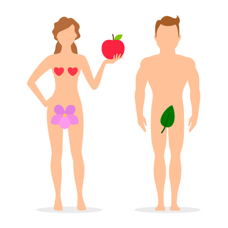 Apple, Adam and Eve silhouettes. Vector illustration of couple people woman and man