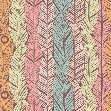 Hand drawn feathers seamless pattern. Vintage texture for textile, print, wallpaper. Vector feather bird pattern wallpaper, fabric ornament retro illustration 矢量图像