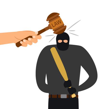 Castigo legal de carácter criminal. Martillo de la ley golpea la cabeza del criminal. Ilustración vectorial