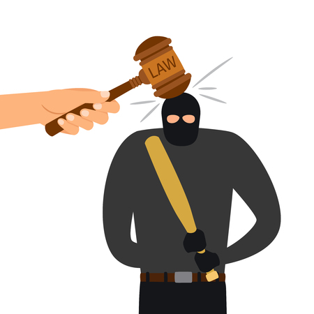 Legal punishment of criminal character. Hammer of law hits head of criminal. Vector illustration