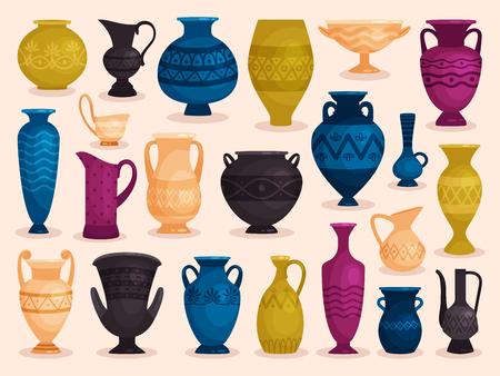 Conjunto de jarrones antiguos de colores. Ilustración de vector. Cerámica de cerámica, vajilla de objeto de olla Ilustración de vector