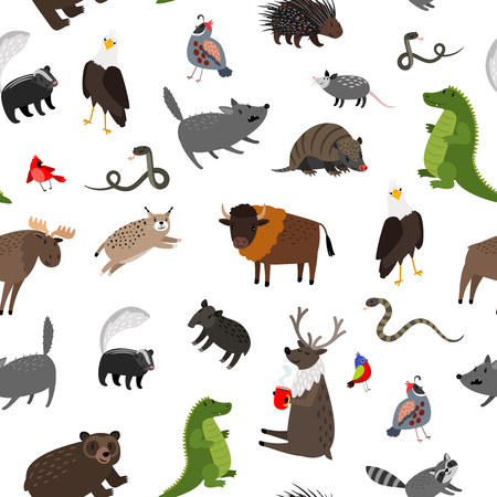 North america animals seamless pattern. Vector illustration. Wildlife skunk and buffalo, mouse and porcupine