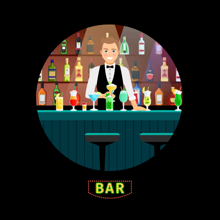 Bartender. Vector male barman pouring cocktail with luxury alcohol interior bar background for restaurants and night cocktails clubs  イラスト・ベクター素材