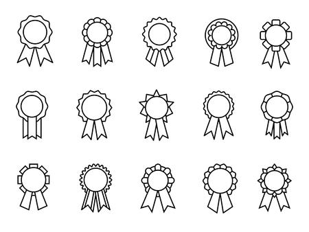 Icônes de ligne de rubans de récompenses. Récompenses linéaires de ruban de bonnes notes, sceaux de récompense ou badges minces de contrôle de la qualité, meilleures rosettes de certification, illustration vectorielle Vecteurs