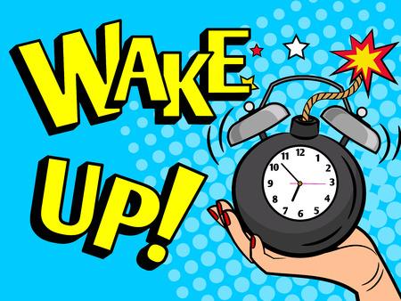 Wake up alarm clock. Hand holding clock pop art style vector illustration Vektorové ilustrace