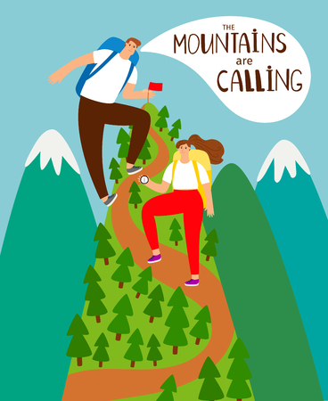 Mountains climbing. Boy and girl hikers mountain climb vector illustration, cartoon people achievement peak, mountaineering concept
