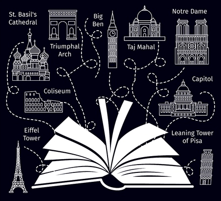 Travel book guide. Europe vacation travelers booking brochure concept, tourist magazine with silhouette of world sightseeing, vector illustration Illustration