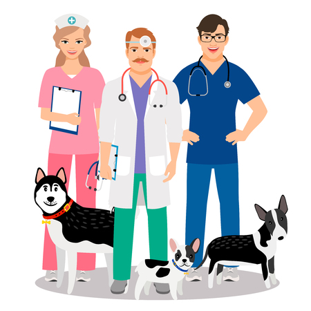 Dogs veterinary. Veterinarian team with cute dogs care for vet clinic vector illustration