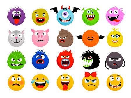 Émoticônes de monstres et d'animaux. Monstres drôles de dessin animé de vecteur, visages de smileys d'animaux mignons, personnages d'expressions heureux et effrayants de dessin animé Vecteurs