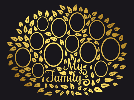 Golden vintage genealogy tree. Genealogical family tree vector illustration on black background. Genealogical tree connection generation