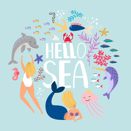 Hello sea, design of t-shirt. Fish algae and sea animals. Vector sea fish and aquatic underwater illustration