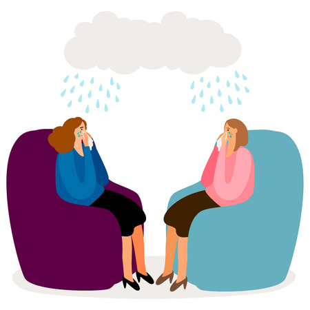 Crying women, depressed girls vector concept isolated. Illustration of depression and sadness, girl stress