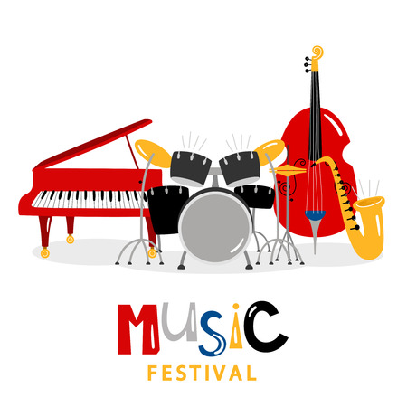 Music festival background with color music instruments isolated on white background. Illustration of music festival, sound instrument, piano and trumpet Stock Illustratie