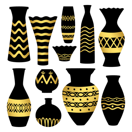 Greek ancient bowls and vases with golden patterns. Vase ancient greek pottery, amphora and greece. Vector illustration