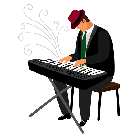 Man in hat play on classical instrument, piano or synthesizer, vector illustration Illustration