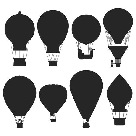 Vector hot air balloons silhouettes isolated on white background. Air balloon for adventure, transport flight illustration Ilustração Vetorial