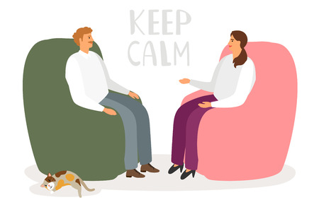 Man and woman are talking in a relaxed atmosphere. Keep calm vector concept. Illustration of psychiatrist and counseling patient, healthcare emotional psychology
