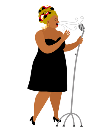 Afro american woman performance, songstress jazz vocal in microphone, singer entertainment, vector illustration 일러스트
