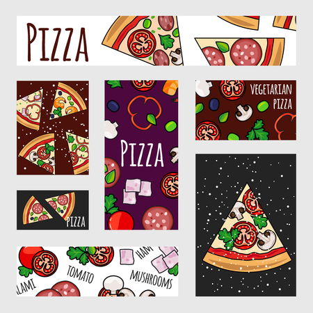 Cartoon pizza banners template. Fast food label, banner, flyer design. Pizza flyer for restaurant illustration, template of fast food Illustration