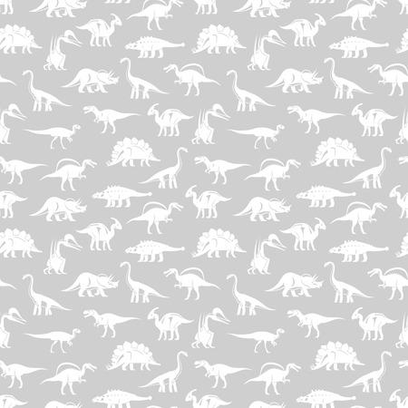 White silhouettes different dinosaurus vector seamless pattern. Illustration of dino prehistoric, prehistory tyrannosaurus silhouette