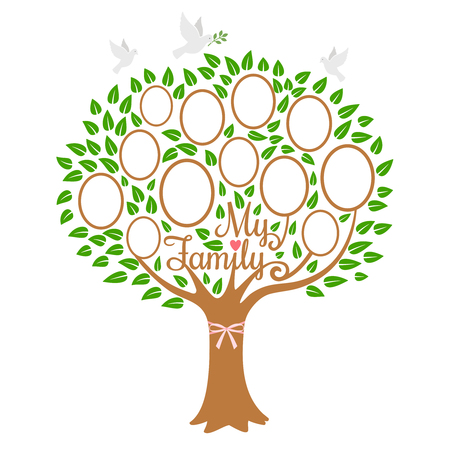 Family tree generation, genealogical tree with photo place family, community on branch, vector illustration
