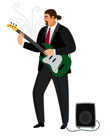 Rock guitarist, man playing musical guitar with amplifier speaker, vector illustration
