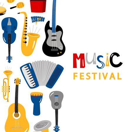 Music festival banner with cartoon character instruments vector design. Illustration of banner and poster instrument, music festival, drum and trumpet