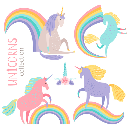 Vector cartoon character unicorns and rainbows isolated on white background. Unicorn character and color rainbow illustration