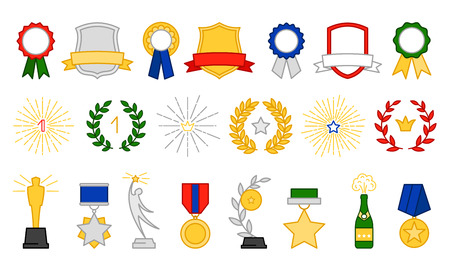 Award and prize symbols, vector icons set on white background Ilustração