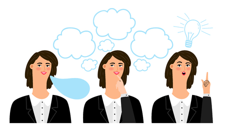 Business woman emotions. Office girl says thinks creative vector illustration, cartoon professional corporate businesswoman face with expressions Reklamní fotografie - 124973406
