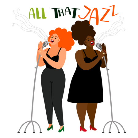 Singers duet - jazz female singers vector isolated on white background Иллюстрация