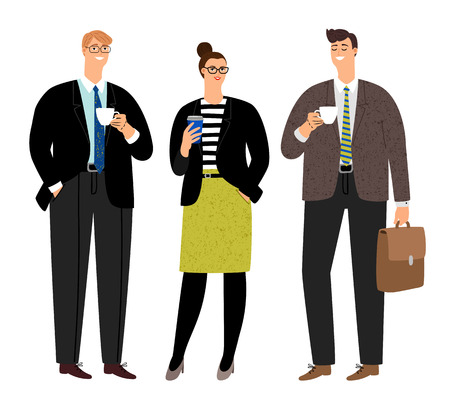 Business coffee break. Office people persons group with tea caps, businesswoman and businessmen friendly talking and drinking coffee, vector illustration