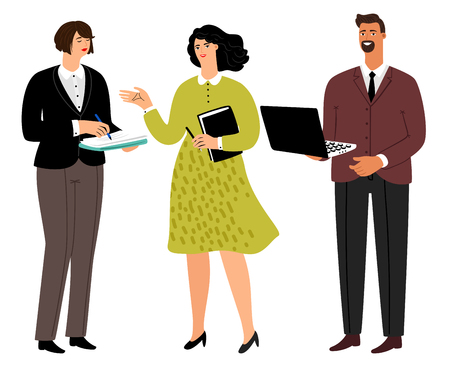 Colleagues. Cartoon corporate people company, office man with laptop and women workers, professional colleague professions, vector illustration Ilustrace