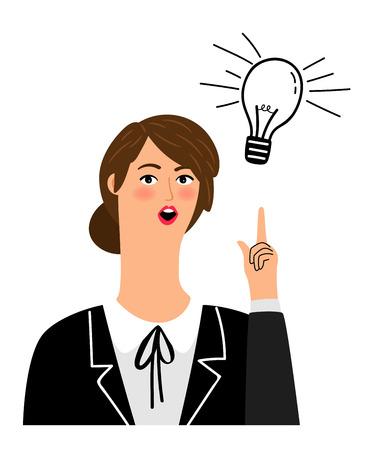 Girl has idea. Funny cartoon office girl creative pointing up vector illustration, business woman eureka thinking isolated on white background Ilustração