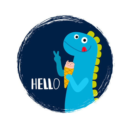 Round banner with cartoon baby dinosaur with ice cream, vector illustration Illustration