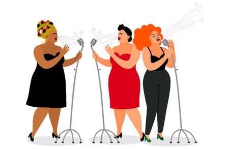 Trio of international singer women, on white background, vector illustration Ilustrace