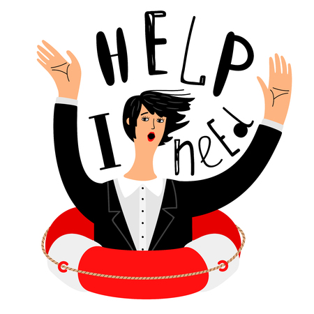 Business need help. Pretty girl in office clothes sinking and asking for help vector illustration, business disaster concept