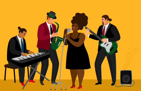 Jazz band vector illustration. Musician team and singer characters on bright yellow background