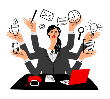 Secretary vector icon. Cartoon secretaries girl, busy happy working office businesswoman with laptop computer, multi tasks office manager