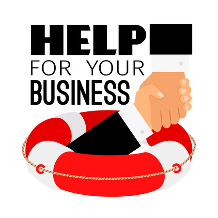 Business life buoy. Businessman survival life sea rescue, financial support and insurance help concept, drowning lifebuoy vector illustration
