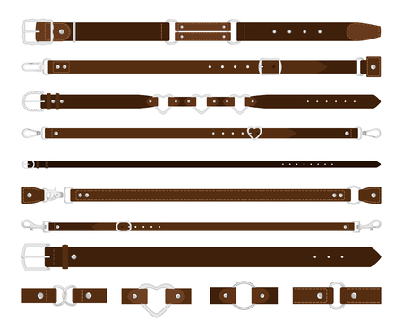 Leather belts. Brown leathers belt with metal steel buckle vector set on white, strap elegant garment and trousers fashion accessories Ilustrace