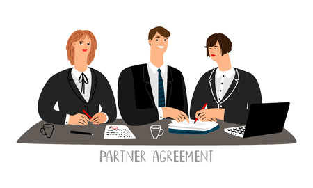 Partner agreement. Partnership business contract signing negotiating table, business people partnering deal, legal agreement concept, vector illustration Çizim