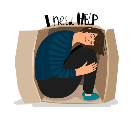 Girl depression. Sad depressed young woman in cardboard box vector illustration, introvert sadness teenager, alone lady prisoner