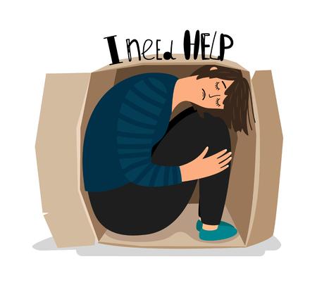 Girl depression. Sad depressed young woman in cardboard box vector illustration, introvert sadness teenager, alone lady prisoner