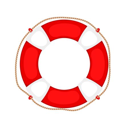 Koło ratunkowe na białym. Ratownik gumowy pierścień bezpieczeństwa z liną, okrągły ratownik na białym tle, ochrona sprzętu ochrony ubezpieczenia wsparcia, ilustracji wektorowych