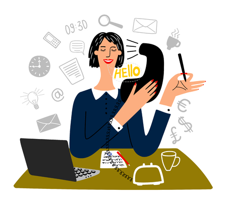 Secretary working. Happy working office female secretary business creative tasks, finance officer or professional office manager, vector illustration