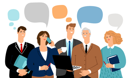Business team talk. Office people talks, young professionals group communication bubbles, businessworkers persons talking and thinking, vector illustration