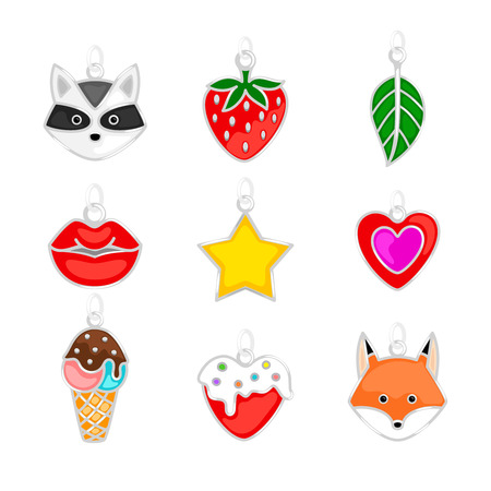 Jewellery pendants. Modern youth pendants set, lips and fox, ice cream and strawberries, heart and star vector illustration