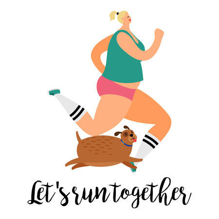 Girl and dog run together vector illustration on white background